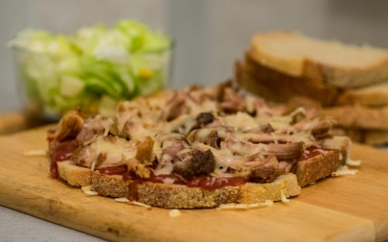 Pulled pork and cheese toasted bread