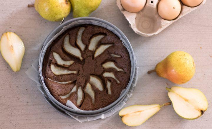 Torta pere e cioccolato all acqua, senza farina