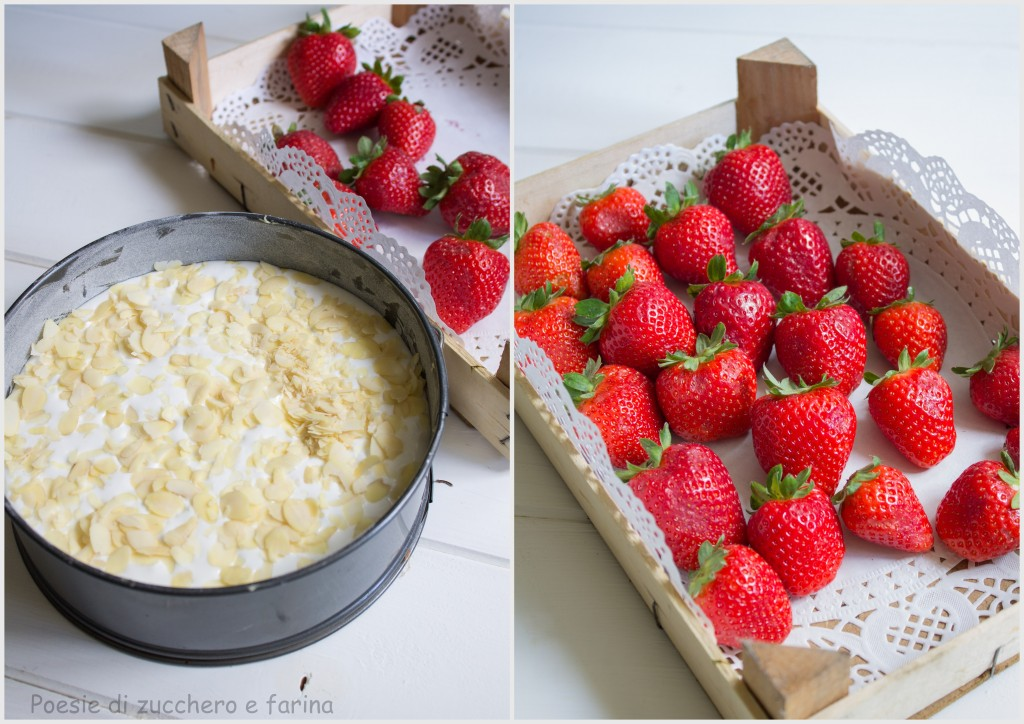foto fragole e torta cruda