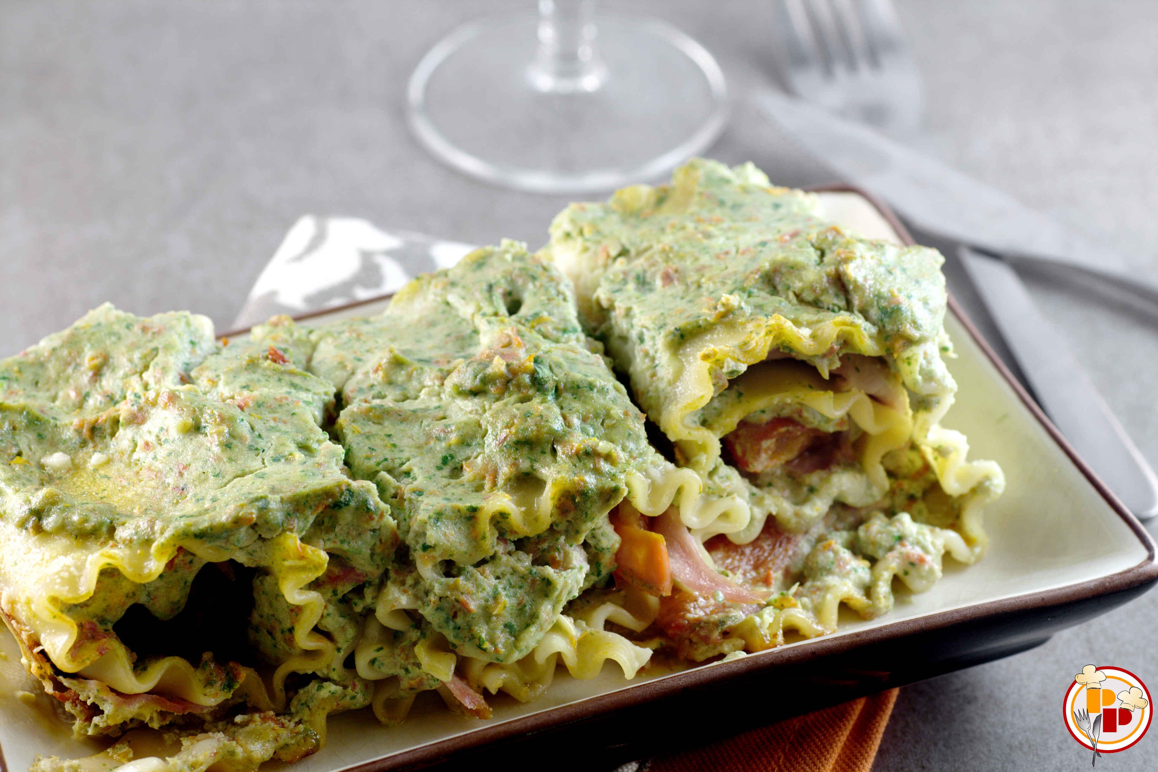 rotolini di lasagne ai peperoni e prosciutto