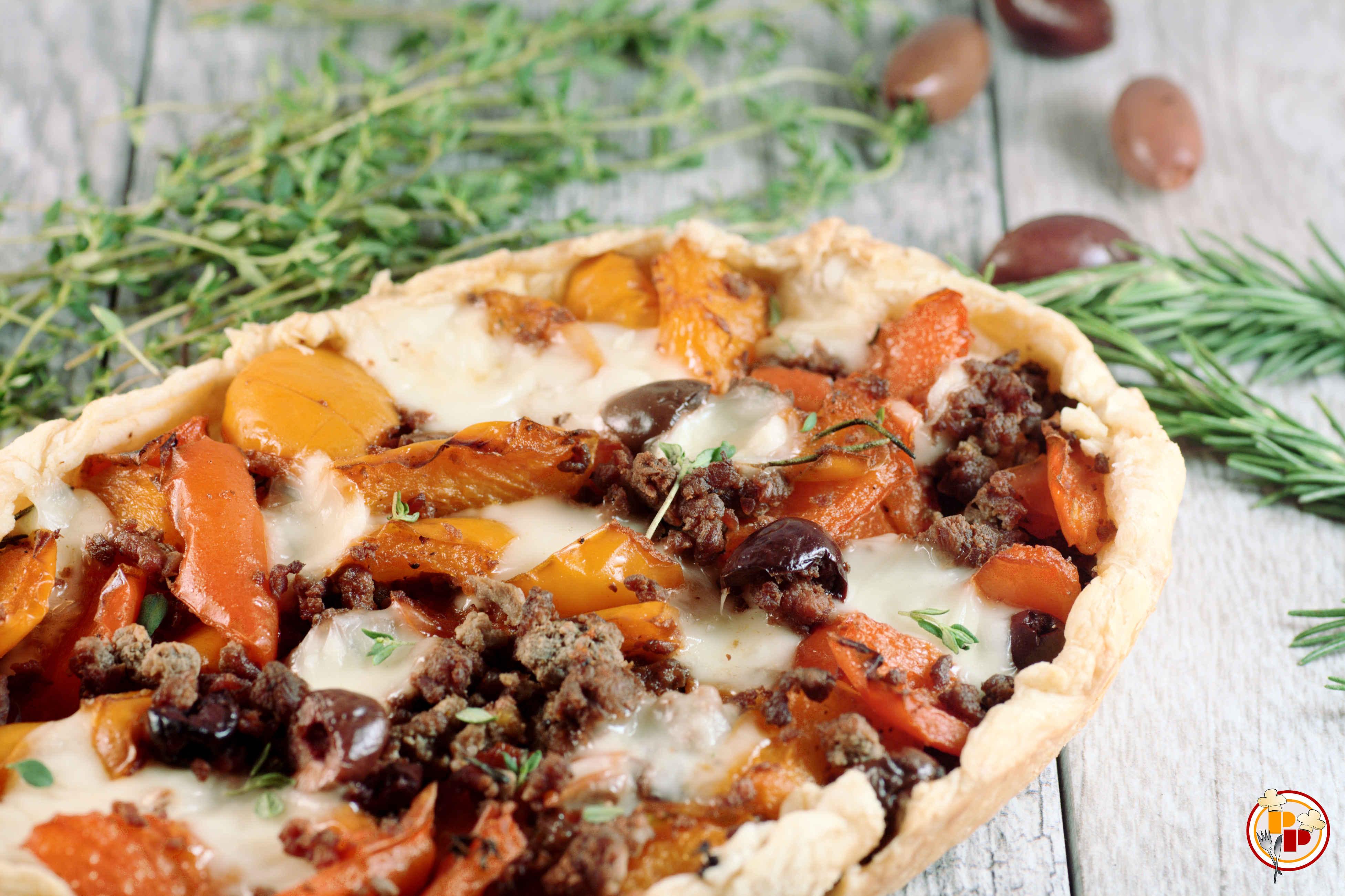 Torta Salata Filante ai Peperoni e Macinato
