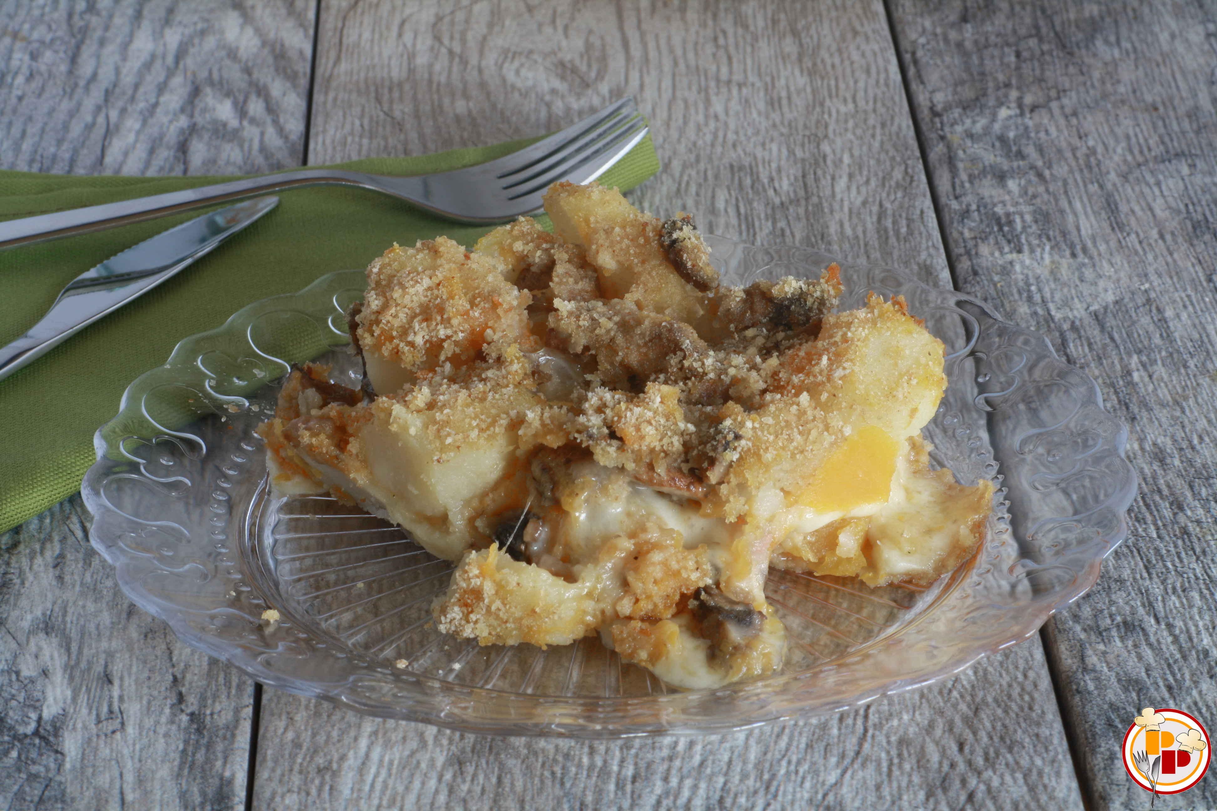 Tortino Filante di Zucca, Patate e Funghi