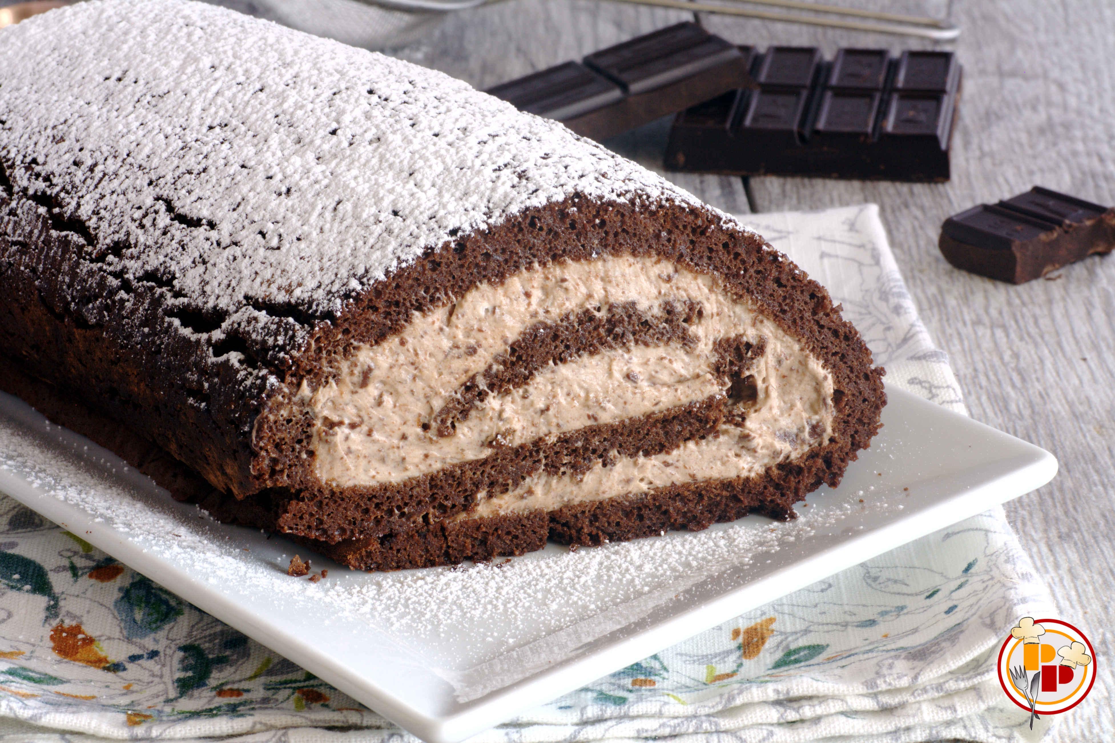 Rotolo al Cioccolato con Crema Senza Cottura