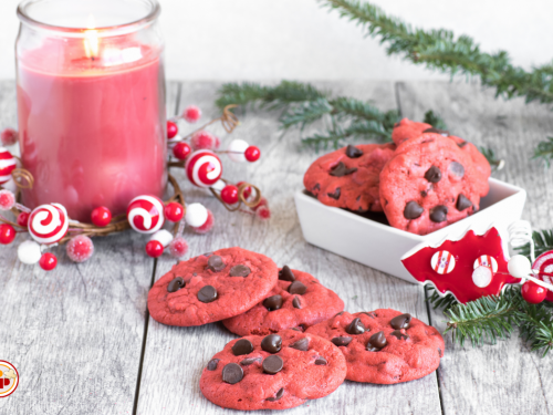 Red Velvet Cookies -Biscotti Americani con Gocce di Cioccolato