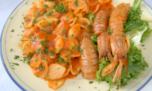 Orecchiette Con Gamberi e Salsa Rosa Tonnata