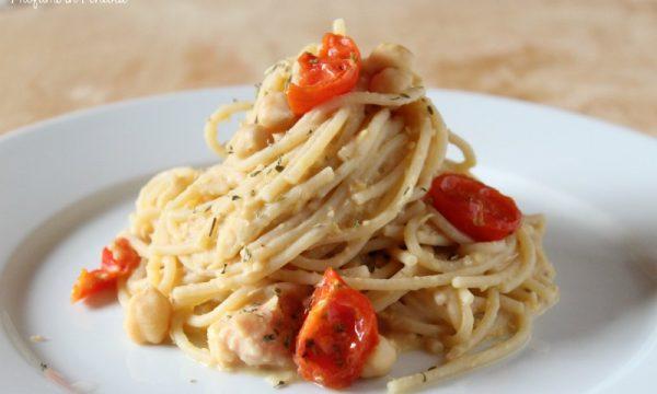 Pasta alla crema di Ceci con Pomodorini e Origano
