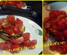 """Hamburger """"home made""""grigliati con melanzane e pomodorini"""