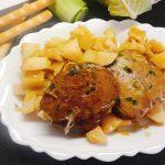 seitan grigliato con patate e porri