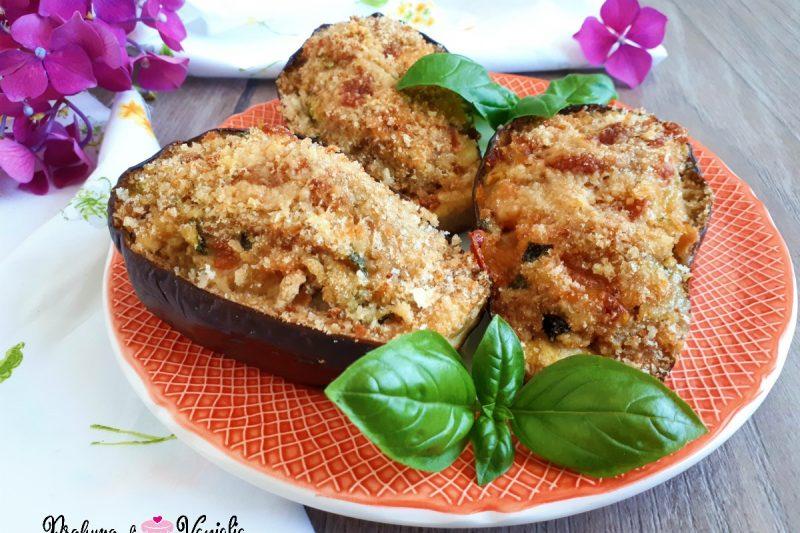 Barchette di MELANZANE RIPIENE con tonno e mozzarella