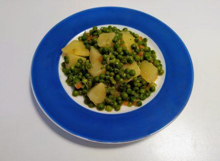 Pisellini primavera con patate e pomodorini secchi