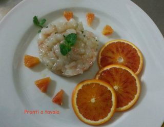 Tartare di Gamberoni, Mela e Succo D'arancia