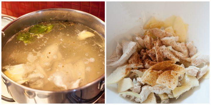 Insalata di pollo con anacardi e mele preparazione