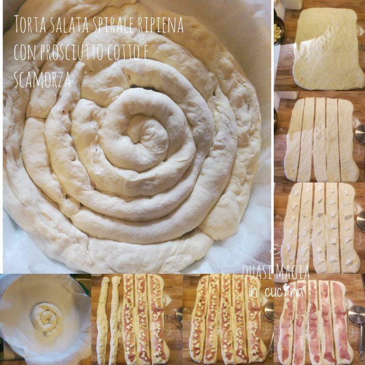 Torta salata spirale ripiena con prosciutto cotto e scamorza procedimento