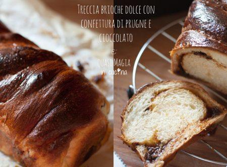 Treccia brioche dolce con confettura di prugne e cioccolato