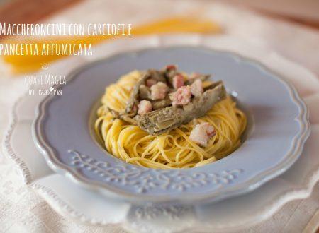 Maccheroncini con carciofi e pancetta affumicata