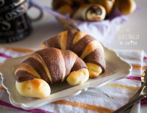 Cornetti dolci bicolore all'olio di oliva