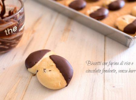 Biscotti con farina di riso e cioccolato fondente, senza burro e senza glutine