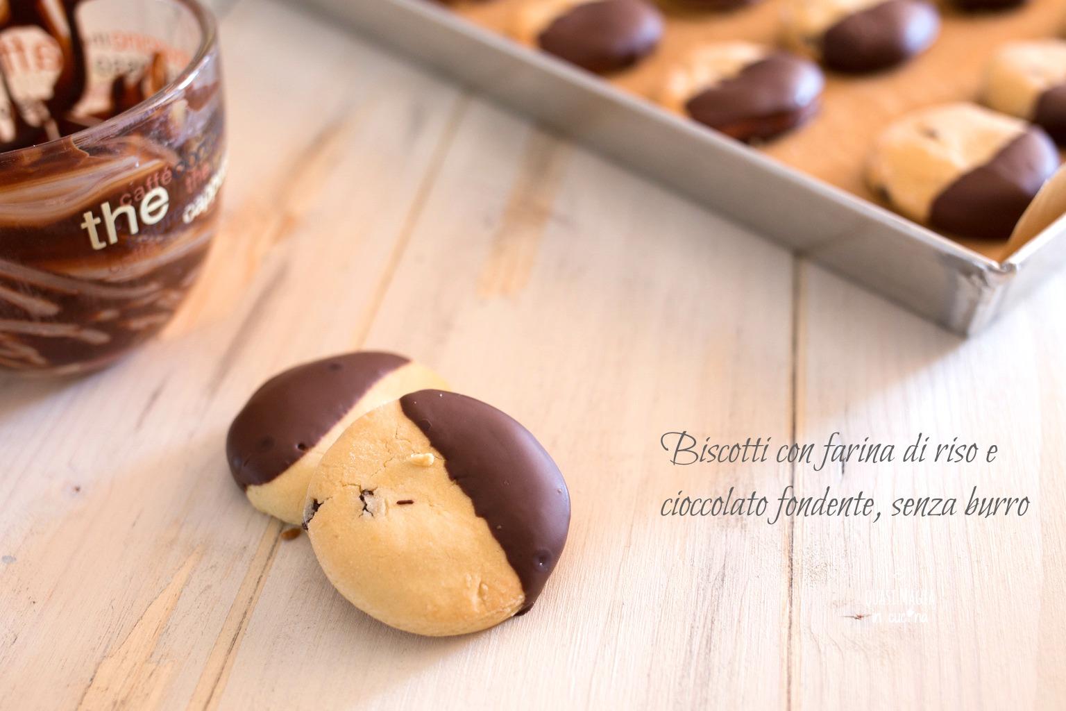 Biscotti con farina di riso e cioccolato fondente, senza burro e ...