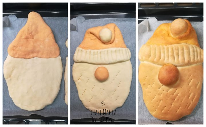 babbo natale di pane collage