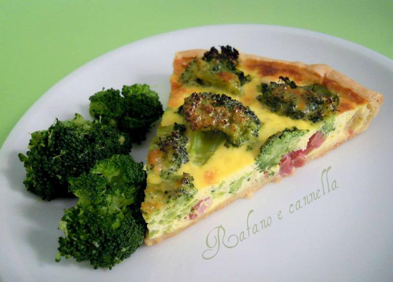 Quiche con broccoletti e pancetta