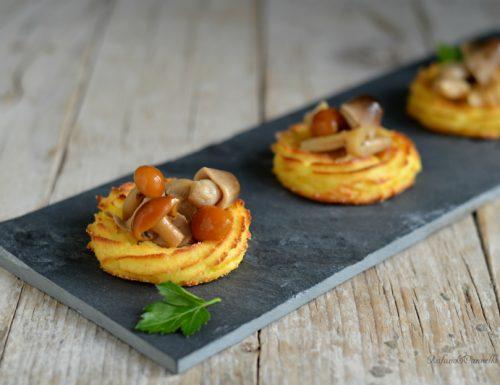 Cestini di patate ai funghi