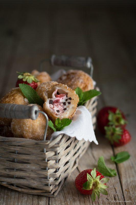 palline di sfoglia con fragole e ricotta