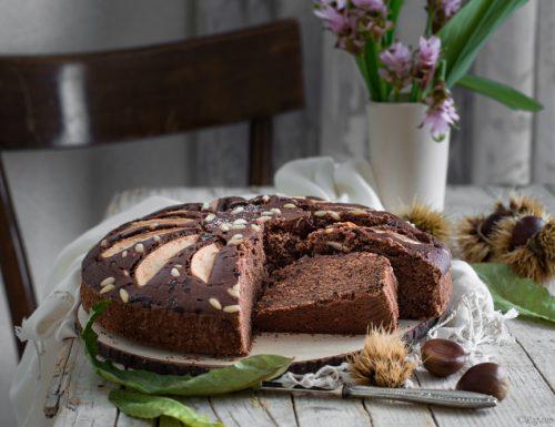 Torta di castagne con cioccolato e pere