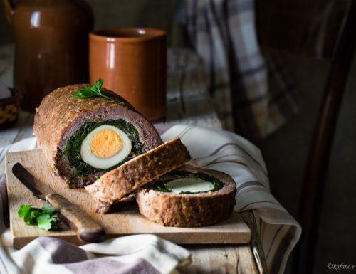 Polpettone con uova e spinaci