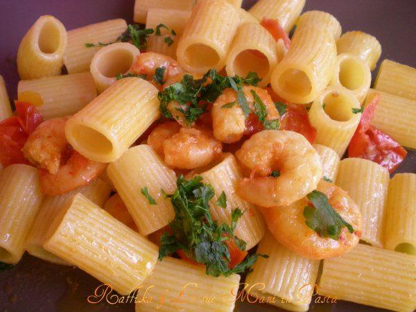 Mezze maniche con gamberi,ricetta pesce