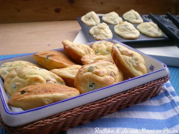 Madeleines salate pancetta e piselli