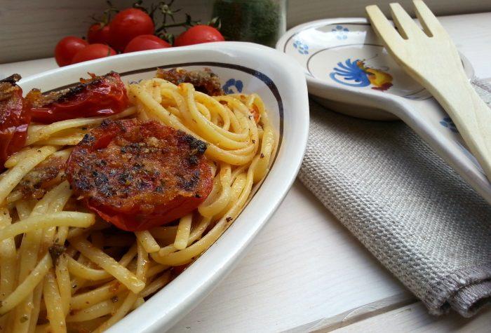 Linguine con pomodorini gratinati