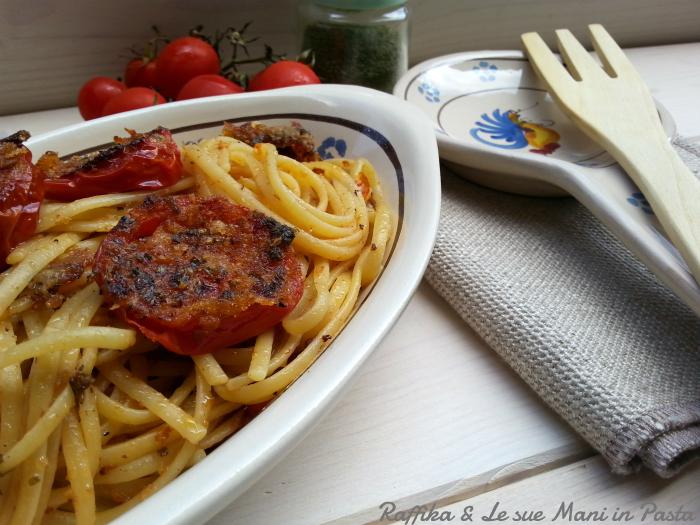 Linguine con pomodorini gratinati (arraganati)