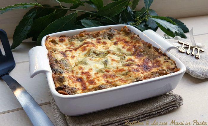 Lasagne ai carciofi e crema di patate