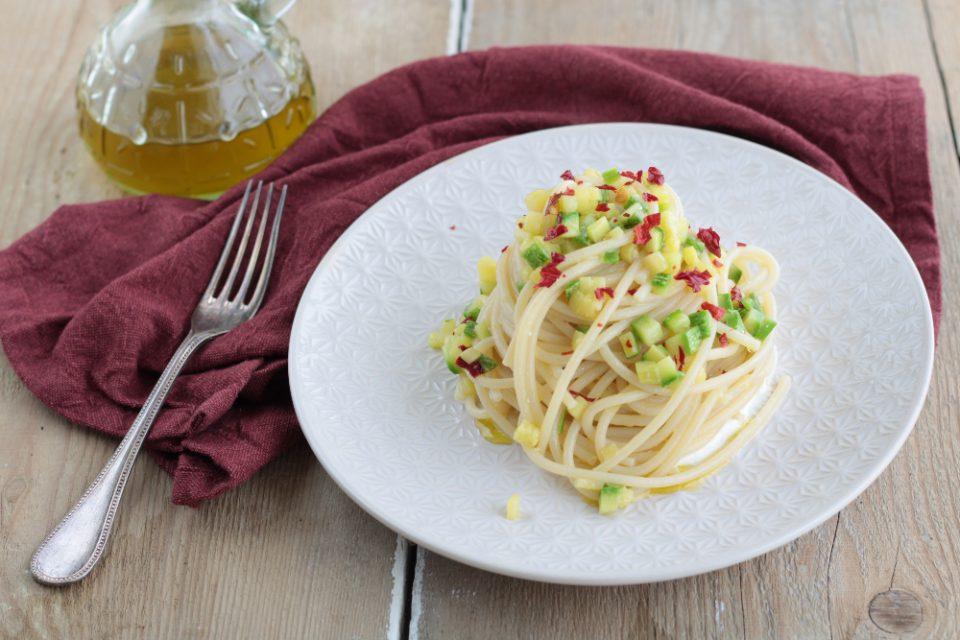 Spaghetti alle zucchine e peperone crusco