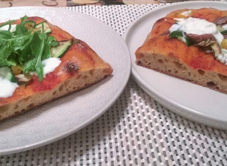 Pizza in teglia lievitazione 24 h lievito madre secco