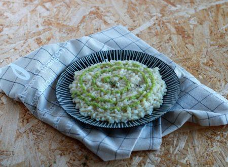 Risotto ai porri con crema di zucchine al basilico