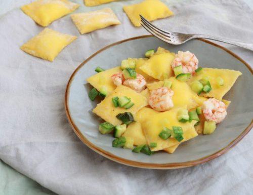 Tortelli al limone con mazzancolle e zucchine
