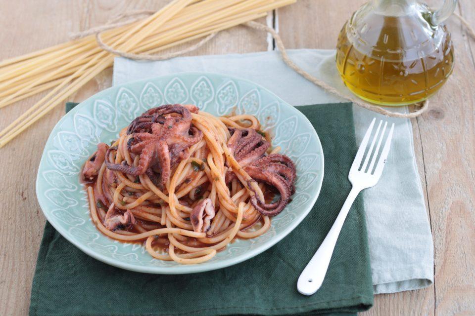 Spaghettoni con sugo ai moscardini