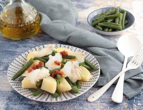 Insalata tiepida con fagiolini e merluzzo
