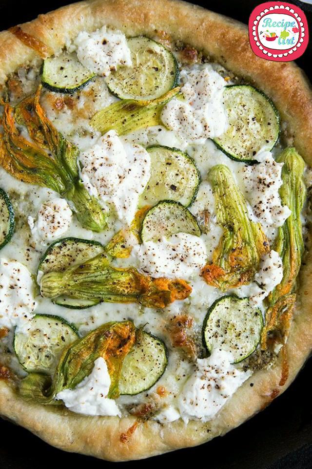 pizza ricotta e fiori di zucca