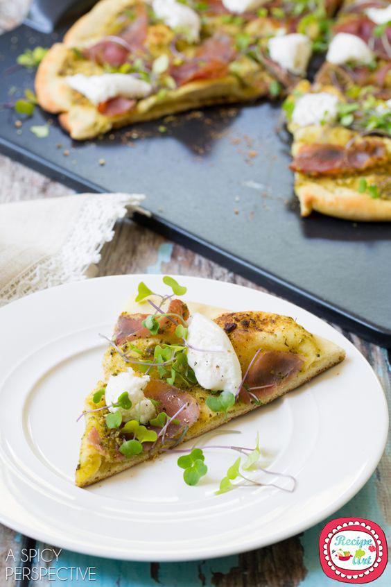 pizza pesto e pancetta recipeart