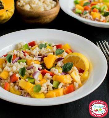 Insalata di riso tiepida alla papaya