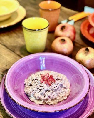 Risotto al succo di melagrana mantecato al gorgonzola