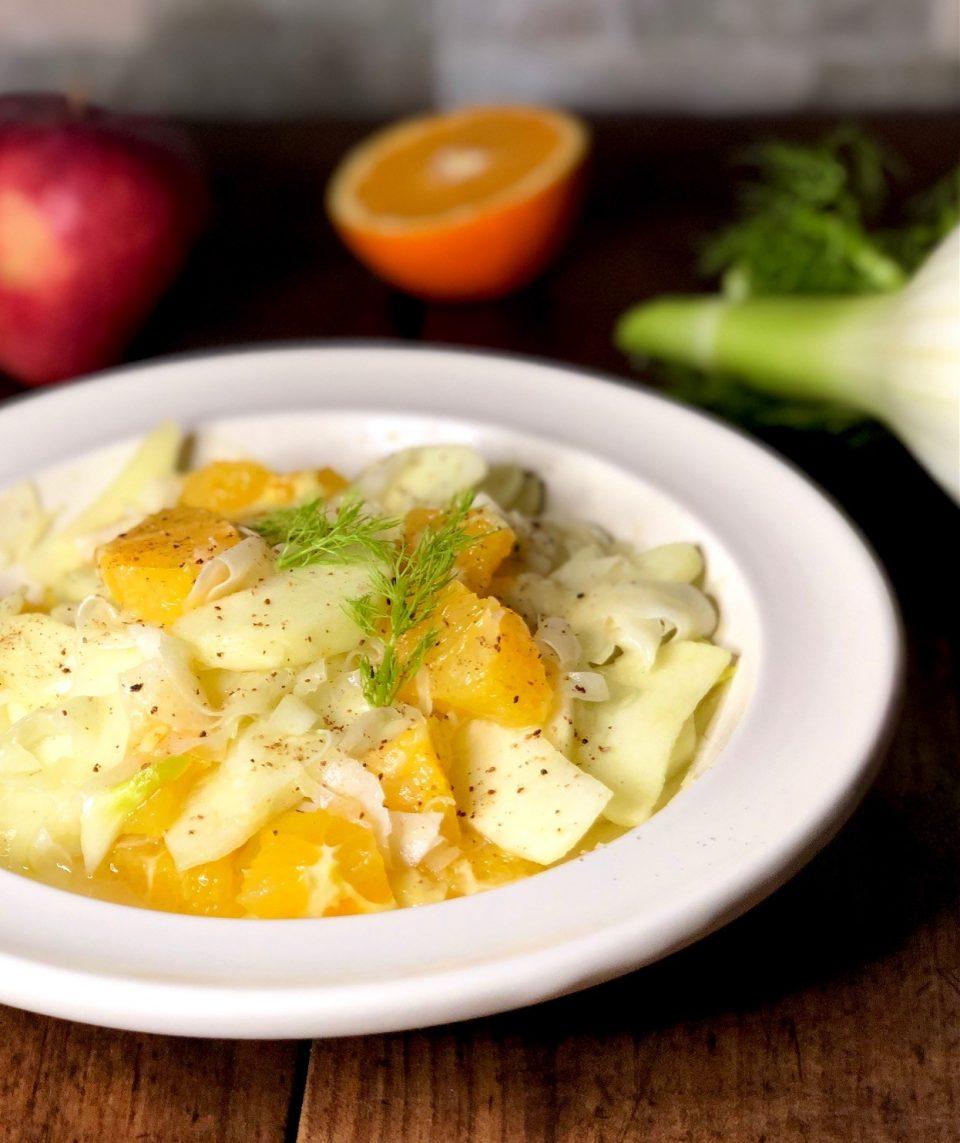 L'insalata di finocchi, mele e arance
