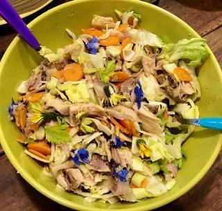 Insalata di pollo e verdure crude