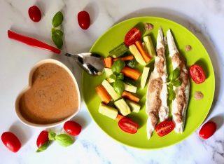 Branzino (o spigola) con salsa al basilico