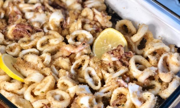 Anelli di calamari impanati al forno
