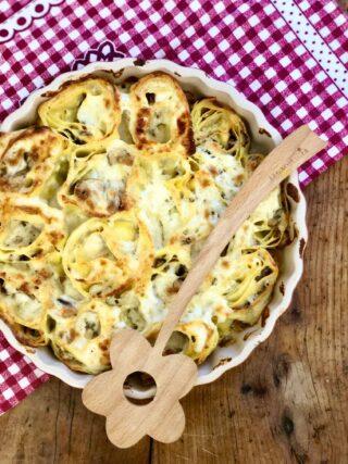 Girelle di lasagne con funghi e besciamella