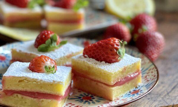 Torta al limone con crema di fragole