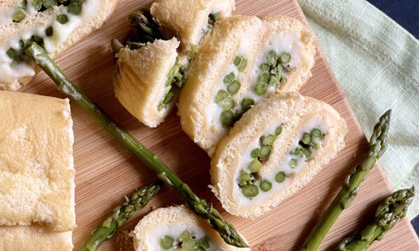Rotolo salato con asparagini e crescenza